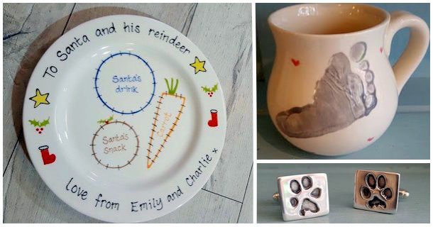 Santa Treat Plate, Footprint Mug, Paw Print Jewellery
